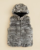 Surell Girls' Hooded Fur Vest - Big Kid