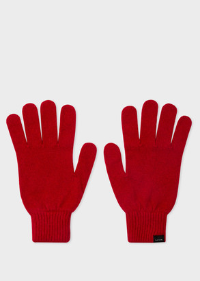 Paul Smith Men's Red Cashmere And Merino Wool Gloves