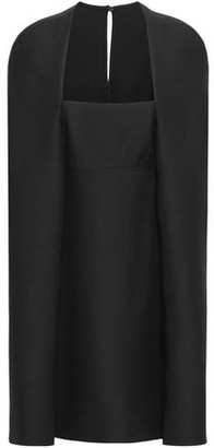 Valentino Cape-effect Wool And Silk-blend Crepe Mini Dress