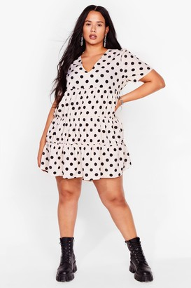 Nasty Gal Womens Smock to the System Polka Dot Mini Dress - White - 28, White