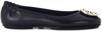 Tory Burch Minnie Travel Black Nappa Leather Flat