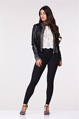 Gatsbylady London Lilah Handcrafted Embroidered Genuine Leather Jacket