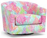 Pottery Barn Lilly Pulitzer Harlow Upholstered Swivel Armchair