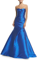 Monique Lhuillier Sweetheart-Neck Mermaid Gown, Cobalt