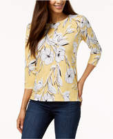 JM Collection Petite Floral-Jacquard Top, Created for Macy's