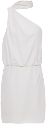 Halston Tie-neck Gathered Crepe Mini Dress