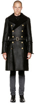 Balmain Black Shearling Double-Breasted Coat