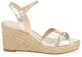 Stuart Weitzman Rosemarie Metallic Leather Platform Espadrille Wedge Sandals
