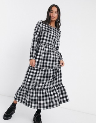 Only long-sleeve midi dress in black