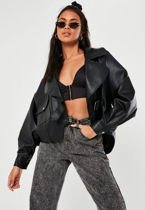 Missguided Black Faux Leather Balloon Sleeve Biker Jacket