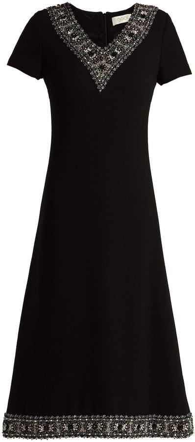 Goat Glam faux-pearl and crystal wool-crepe dress
