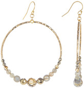 Chan Luu 18K Gold Plated Sterling Silver Crystal & Stone Beaded Hoop Dangle Earrings