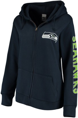 Unbranded Women's College Navy Seattle Seahawks Extra Point Two-Hit Full-Zip Hoodie