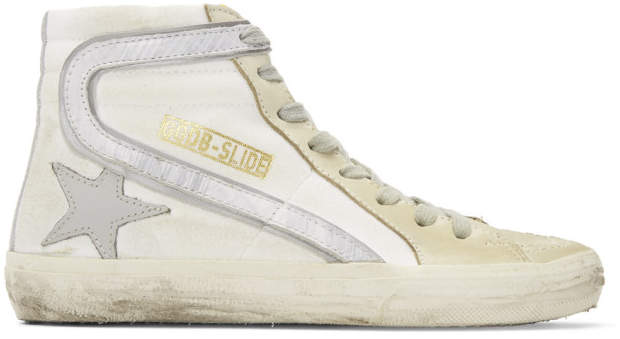Golden Goose White and Grey Slide High-Top Sneakers