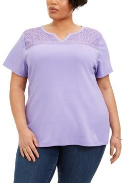 Karen Scott Plus Size Crochet-Yoke Top, Created for Macy's