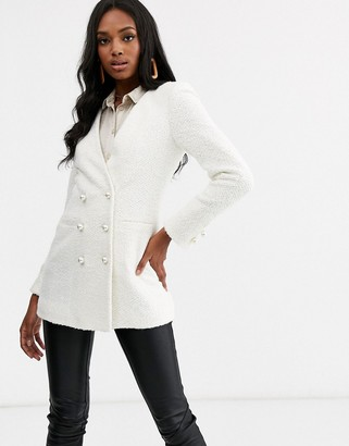 Asos Design DESIGN longline boucle blazer-White