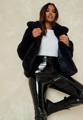 Missguided Navy Faux Fur Short Collar Coat