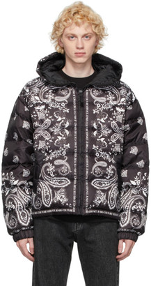 Versace Jeans Couture Black and White Down Hooded Jacket