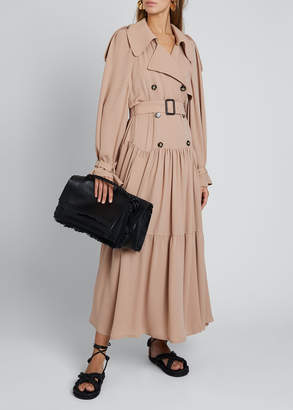 Valentino Silk Trench Coat With Leather Details