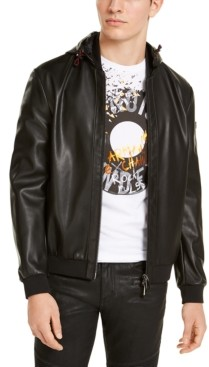 AX Armani Exchange Black Faux Leather Blouson Jacket