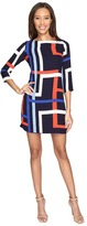 Vince Camuto Printed Chiffon Shift Dress with Elbow Sleeves
