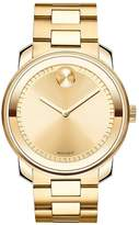 Movado Bold 42mm Case Polished Bezel Yellow Gold Plated Stainless Steel Bracelet Mens Watch