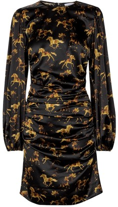 Ganni Printed silk satin minidress