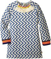 Billieblush Zig Zag Dress (Toddler/Kid) - White/Blue - 4 Years