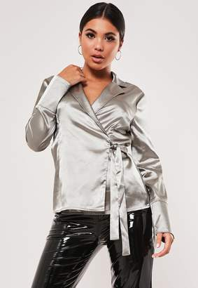 Missguided Silver Wrap Front Satin Blouse
