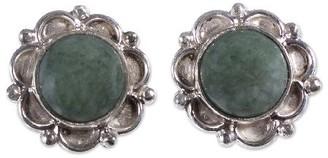 Novica Artisan Crafted Sterling Jade Dahlia Stud Earrings