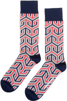 Jonathan Adler Men's Jaipur Red/Navy Arrow Socks
