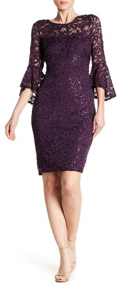 Marina Sequin Lace Bell Sleeve Sheath Dress