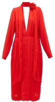 Victoria Beckham Floral-necktie Pleated-chiffon Dress - Womens - Red