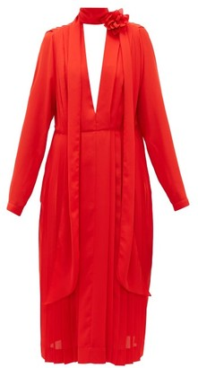 Victoria Beckham Floral-necktie Pleated-chiffon Dress - Womens - Red
