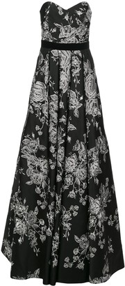 Marchesa strapless floral-embroidered dress