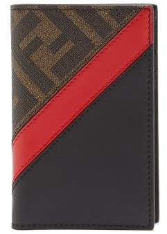 Fendi Ff Coated-canvas And Leather Wallet - Mens - Brown Multi