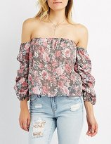 Charlotte Russe Floral Ruched Sleeve Off-The-Shoulder Top