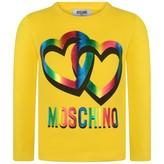 Moschino MoschinoGirls Yellow Hearts Print Jersey Top