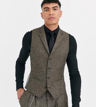 Twisted Tailor Tall super skinny suit vest in herringbone