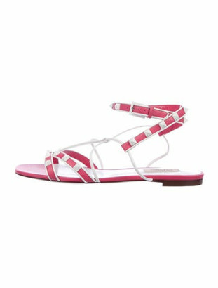 Valentino Leather Printed Gladiator Sandals Pink