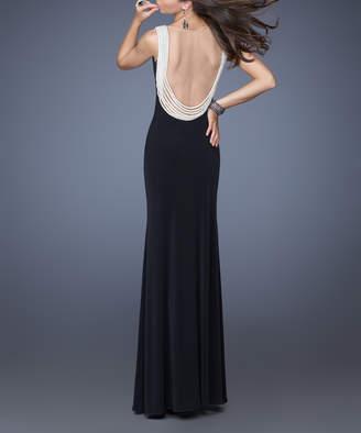 La Femme Women's Special Occasion Dresses Black - Black Pearl Open-Back Jersey V-Neck Gown - Women