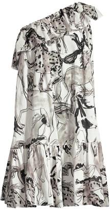Stella McCartney Horse Print Ruffle One-Shoulder Dress