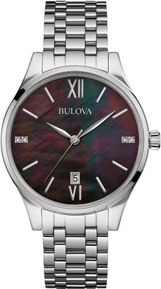 Bulova Women's Diamond Quartz Watch with Mother of Pearl Dial Analogue Display and Silver Stainless Steel Bracelet 96S162