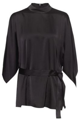 HUGO BOSS Belted top with kimono-style sleeves and stand collar