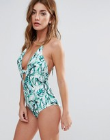 Boohoo Plunge Tropical Print Swimsuit