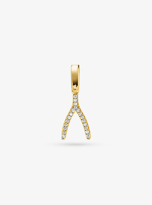 Michael Kors 14K Gold-Plated Sterling Silver Pave Wishbone Charm - Gold