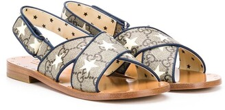 Gucci Kids Star Print Monogram Sandals