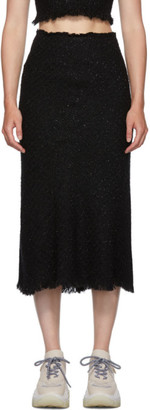 Alexander Wang Black Frayed Tweed Midi Skirt