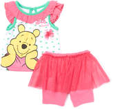 Children's Apparel Network Pink Winnie the Pooh Angel-Sleeve Top & Skirted Shorts