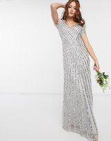 Maya Bridesmaid plunge front all over embellished maxi dress in silver